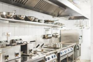 View Of Modern Clean Restaurant Kitchen Interior