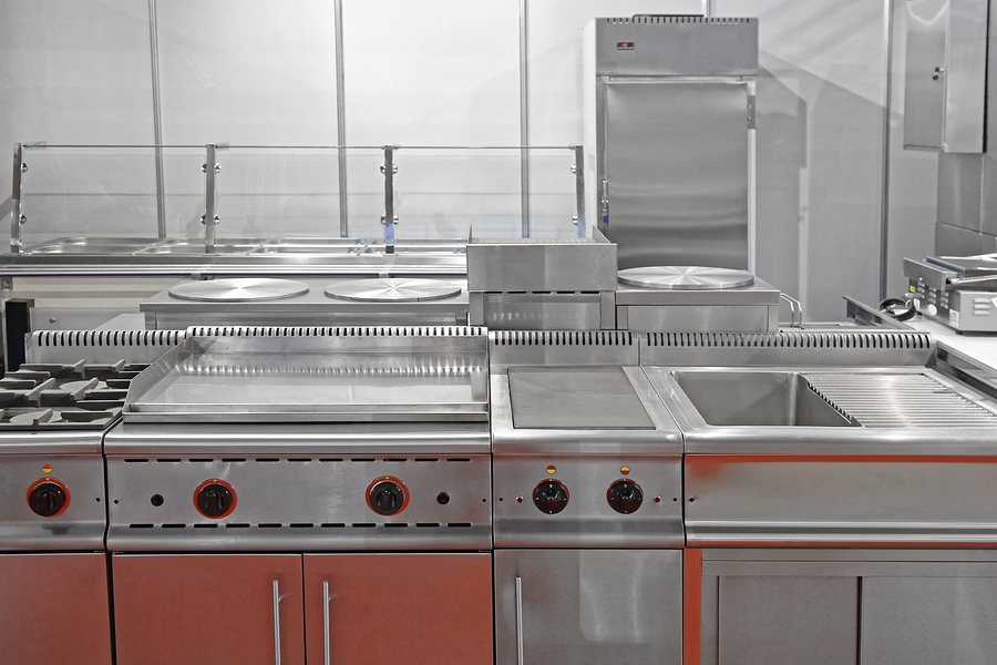 Interior Of Restaurant Commercial Kitchen With Stainless Steel